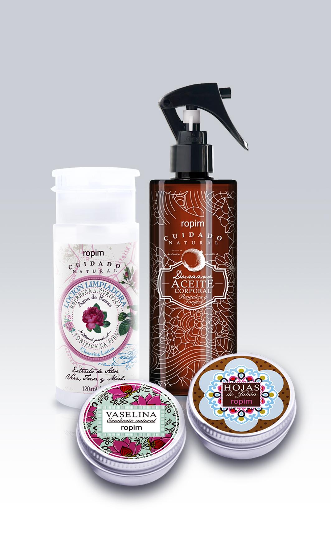 Oferta consiéntete: Hojas de jabón, Vaselina, Aceite de durazno y Agua de rosas.